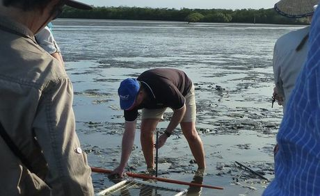 Associate Professor Greg Skilleter demonstrates the equipment to project participants on the mud flats at Maaroom.