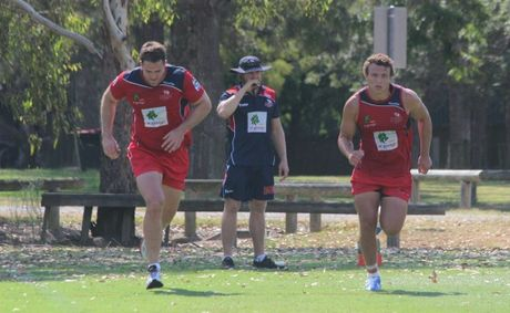 Queensland Reds players James Horwill (left) and Jake Schatz at pre-season training this week.