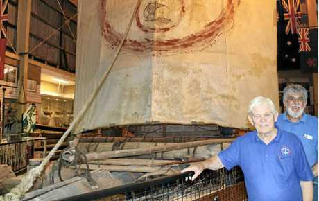 RAFT ANNIVERSARY: Ballina Naval and Maritime Museum volunteers Robert Jones and John Colville pictured last year with the Las Balsas raft on display in the museum.
