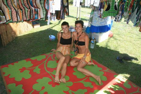 SISTER ACT: Heather and Eve Tulloh from Byron fashion label Psychedelic Bag Lady at the Beachside Market. More market photos on our Facebook page.
