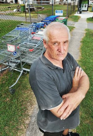 Booval Secondhand owner Nick Koomen is unhappy about having to collect the trolleys left abandoned from neighbouring businesses. Photo: Rob Williams / The Queensland Times