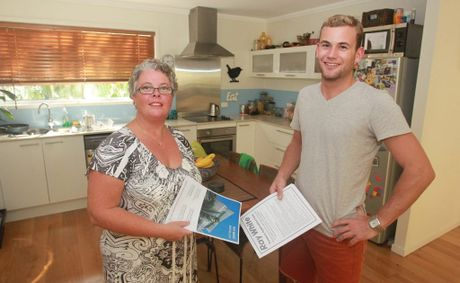 Tracy Bringolf from Ray White Buderim with rental applicant Jonathan Clare at an open house at Buderim. There is a huge demand for rental properties at the moment, with up to 30 applicants for a single property. Photo: Brett Wortman / Sunshine Coast Daily