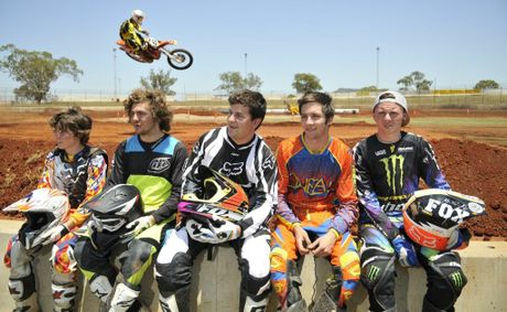 Motocross competitors (from left) Lucas Morrison, Ojai Maguire, Nic Still, Simon Thorogood and Jake Thompson get an early look at the Charlton track ahead of Saturday's Toowoomba Stadium Motocross event.