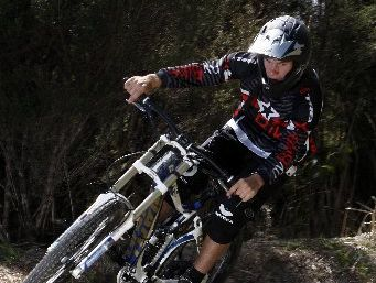 FOCUS: Alex Kennett navigates a corner as he prepares for the New Zealand Downhill series in Christchurch this weekend.
