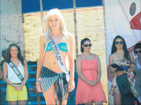 Alex Merson on stage at Miss Taranaki 2013 held as part of the Oakura Beach Carnival.