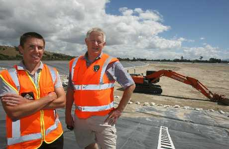 SIDES COVERED: Hopper Construction project engineer Luke Kirkpatrick and Masterton District Council special projects manager Ian Steer at pond 1B, which has its sides lined.PHOTOS/LYNDA FERINGA