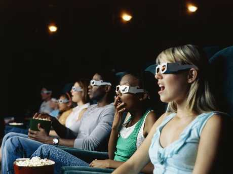 People watch a film in 3D.