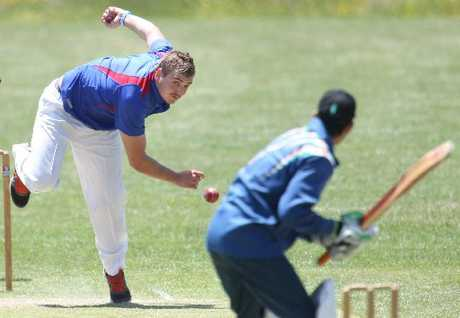 An Indian batsman about to attack Geyser bowler Ben Dyson.