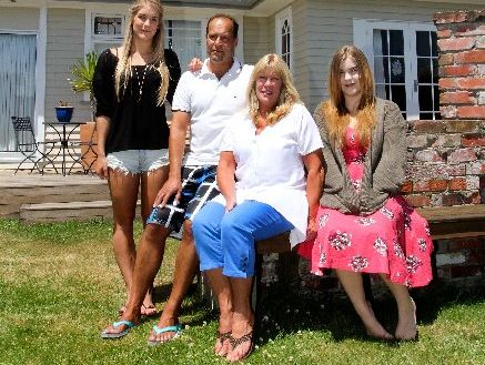 RELAXED: Georgina, Axel, Cathy and Joanna Willmer at their new home in North Beach.