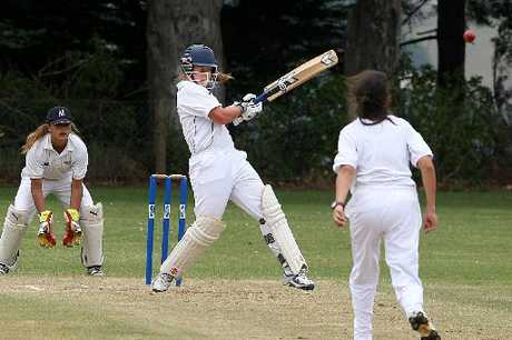 THE ALLROUNDER: Wellington captain Emma Fulbrook, 15, blasts 56 in the tournament final against Auckland yesterday. Fulbrook picked up the awards for the best batter and best bowler.