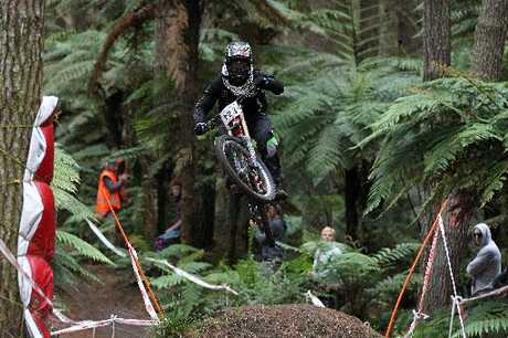 FLYING HIGH: Rotorua's Louis Hamilton is one of a number of riders taking part in the New Zealand Mountain Bike Cup series today.