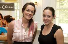 Make-up artists Fiona Claire (left) and Danielle White. at The Vintage and Homemade Bride event at Gabbinbar Homestead.