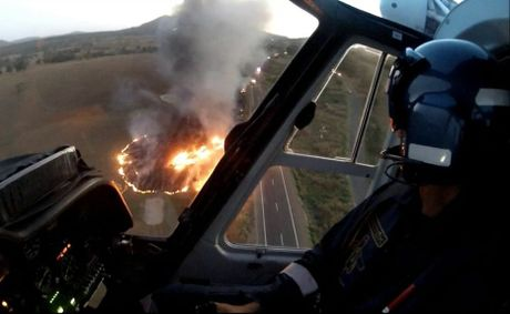 The aftermath of the crash was captured from the air by the AGL Action Rescue Helicopter crew.