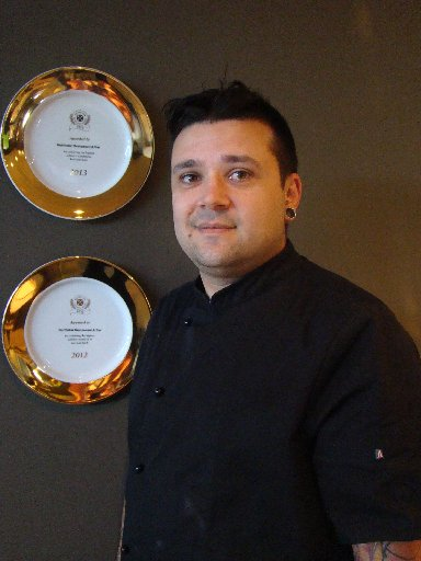 WINNER: Northstar Restaurant and Bar chef Pablo Tacchini with the 2013 Beef + Lamb Excellence Award the business was recently awarded with. PHOTO/JESSIE WAITE