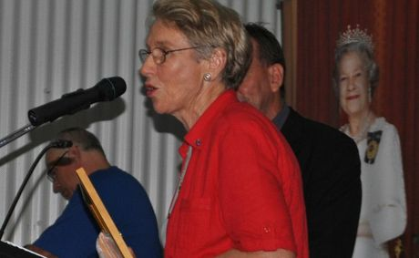 Jenny Stinson receives her award as Roma's Citizen of the Year in the 2012 night event.