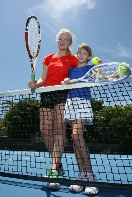 Sisters Olivia, 12, and Jocelyn Lindsay, 9, are keen tennis players.