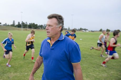 Highfields Lions coach Drew Dale casts an eye over the club's first pre-season training session.