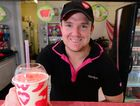 Simon Price with a Wendy's watermelon fruit smoothie.