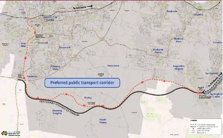 RAIL ROUTE: The preferred railway corridor was identified by the Ipswich to Springfield Public Transport Corridor Study in 2007.