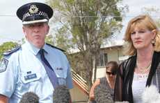 Logan Superintendent Noel Powers and Mayor Pam Parker addressing the media at Douglas St, Woodridge.