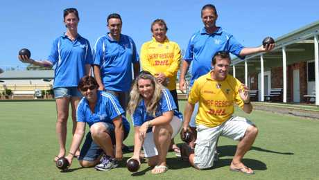 SUPPORTING SURF CLUB: Members of the Casino-Evans Head Surf Lifesaving Club showing their bowls style at their charity day.