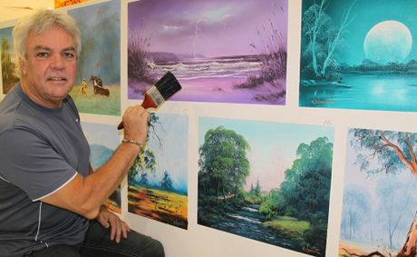 Wayne Clements will be painting in the Shoppingworld all week before an auction on Saturday.