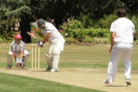 FOCUS: Wairarapa skipper Henry Cameron hits out at a full toss from Horowhenua-Kapiti bowler Ben Strang on his way to a century in the Hawke Cup match at Queen Elizabeth Park oval in Masterton during the weekend.