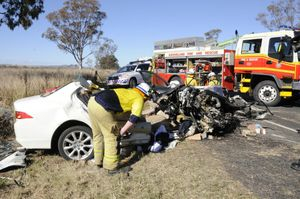 A 19-year-old man is still recovering from injuries sustained in this horror crash on the Warrego Highway near Oakey last year.