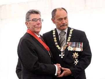 Sir Paul Holmes has been knighted by Governor General at his Mana Lodge estate near Hastings.