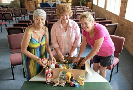 MEETING A NEED: Members of Mullumbimby Community Food Box Mary Polidano, Gai Laverty and Gil Lomath prepare for next months opening.
