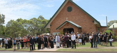 SAD EVENT: Friends and family farewell Shaun Thompson at Emerald's St Luke's Anglican Church on Friday.