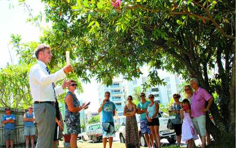 Sale-o: Ray White auctioneer James Grant looks for an increase on $500,000 at 73 Memorial Ave, Maroochydore.