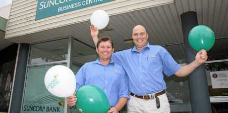 MAJOR MILESTONE: Trent Kammholz and Mark Vayro will celebrate the one year anniversary of the Suncorp Bank's Lockyer Valley Business Banking Centre this Friday.