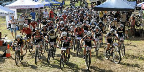 RIGHT: The start of the B-grade mountain bike race in the Wild West Series at Adare on Sunday.