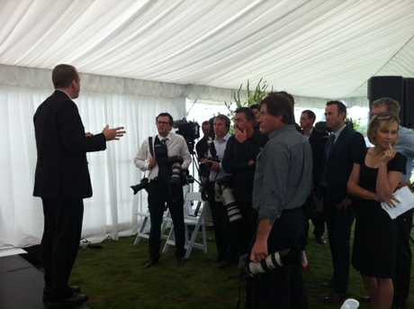 Media being informed about the ceremony ahead in the marquee.  PHOTO/PAUL TAYLOR