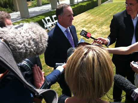 Media interview Prime Minister John Key following Sir Paul&squot;s pres conference.