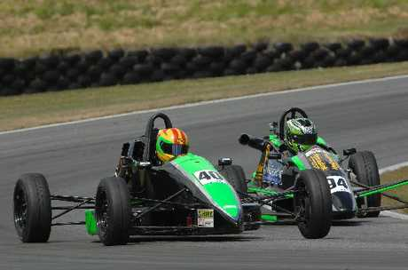 JAMES THE FIRST: Fifteen-year-old James Munro on the way to his shock NZ Formula Ford race victory at Teretonga.