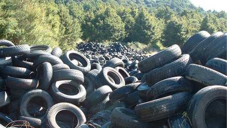 One of the many piles of tyres found at the property (Waikato Regional Council)