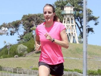 STAR TURN: Hometown Olympian Lucy van Dalen puts in the mileage yesterday ahead of the Cooks Classic in Wanganui on Tuesday night where she heads the field for the Women's International Mile.