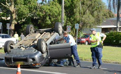 Accident on the intersection of Bruxner Highway and James Road, Goonellabah. Photo Jacklyn Wagner / The Northern Star