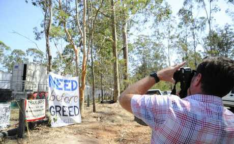 Byron Shire Council mayor Simon Richardson takes some happy snaps at the CSG protest at Glenugie on Thursday. Photo: JoJo Newby / The Daily Examiner
