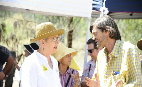 Lismore Shire Council mayor Jenny Dowell speaks with protestor Terry Elvey (front), as Byron Shire Council mayor Simon Richardson (back) chats to another protestor at the CSG protest at Glenugie on Thursday. Photo: JoJo Newby / The Daily Examiner