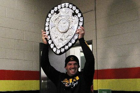 IT'S OURS: Waikato captain Alex Bradley with the Ranfurly Shield.