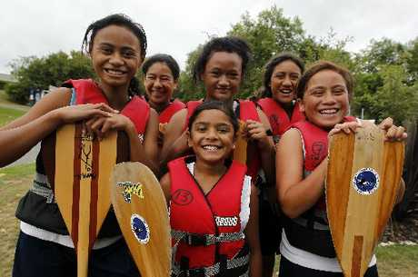 HAPPY PADDLERS: Girls from the Hautai crew from Ngatai Whakarongo Whanau Hoe Waka club from Hamilton are happy to be at the waka ama sprint nationals at Lake Karapiro.