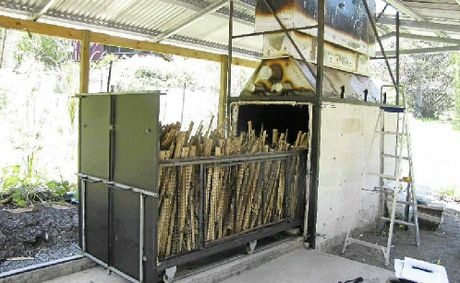BURNING ISSUE: The new kiln at the Jiggi bamboo plantation. INSET: Finished product.