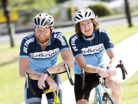 LONG ROAD: Ben Riley, left, and Tom Lynskey cycled the length of the country to raise awareness for Youthline, and left Whangarei yesterday on their return to Wellington.