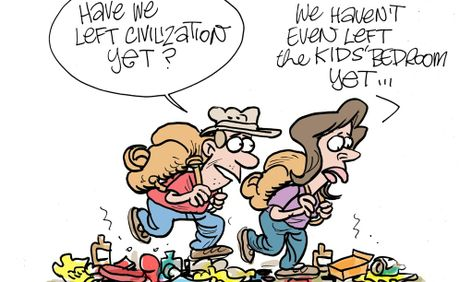 Harry Bruce cartoon Supermum column published January 17, 2013. camping and rubbish issues.