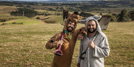 Jimi Hunt (l, Scooby Doo) and Dan Drupsteen (Where the Wild Things Are) preparing to build the world's biggest waterslide near Helensville, west of Auckland.