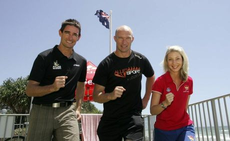 Atlas Multisports managing director Jason Crowther, David Chick from Allez Sport and Coolum Summer Surf Girl entrant Kate Norman are ready for next weekend's Jetts Coolum Classic fun run.