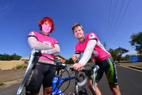 LONG RIDE: Sean and Tom Kelly pass through Bundaberg on their mammoth ride from Melbourne to Cains raising money for the McGrath Foundation. Photo: Scottie Simmonds / NewsMail